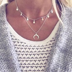 Bohemian Double Layer Choker Necklace  moon star